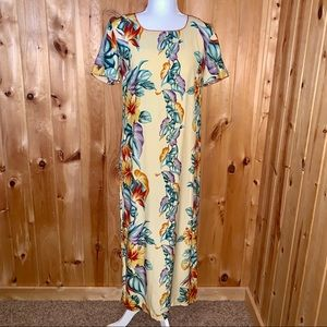 Vintage 80's Hawaiian short sleeve maxi dress S